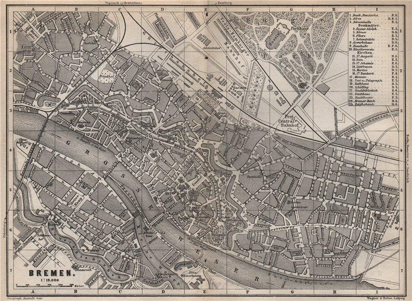 Associate Product BREMEN antique town city stadtplan. Deutschland karte. BAEDEKER 1886 old map
