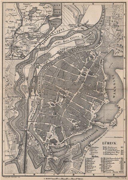Associate Product LÜBECK antique town city stadtplan. Schleswig-Holstein karte. BAEDEKER 1886 map