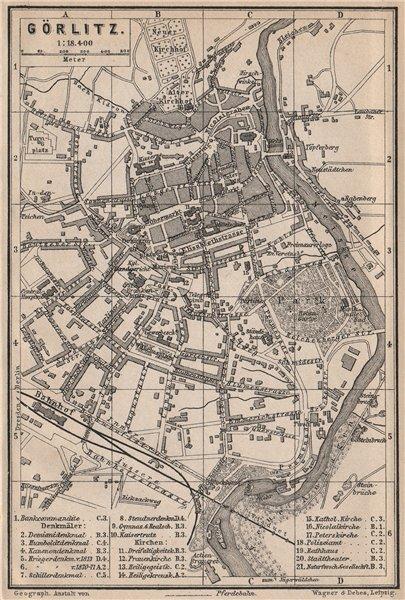 GÖRLITZ antique town city stadtplan. Saxony karte. BAEDEKER 1886 old map