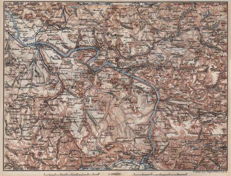 Associate Product SAXON/BOHEMIAN SWITZERLAND Böhmische/Sächsische Schweiz Ceske Svycarsko 1886 map