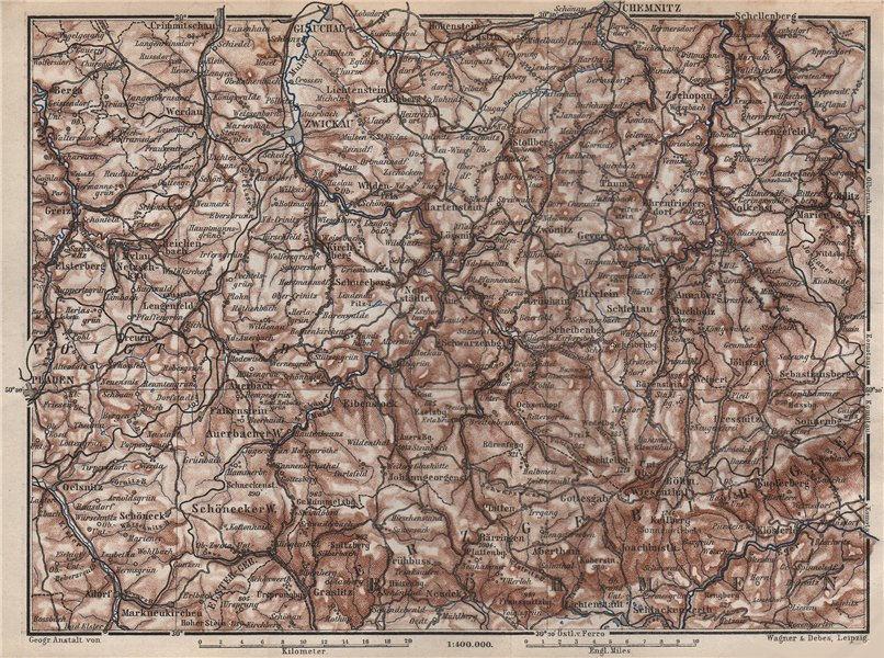 Associate Product ORE MOUNTAINS. Erzgebirge Krusne hory Chemnitz Zwickau Plauen Glauchau 1886 map