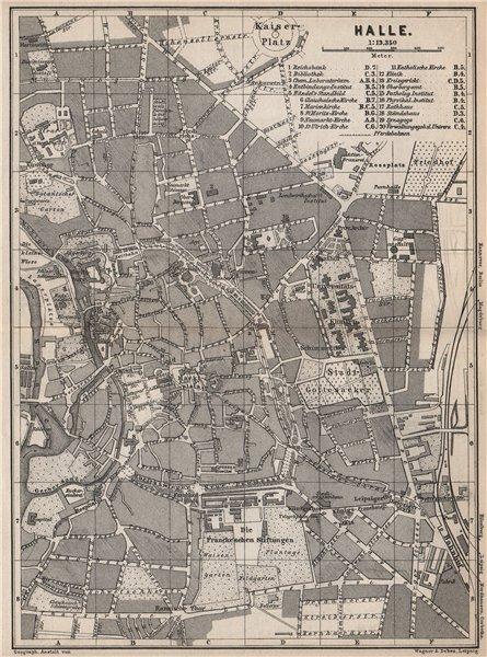 Associate Product HALLE antique town city stadtplan. Saxony-Anhalt karte. BAEDEKER 1886 old map