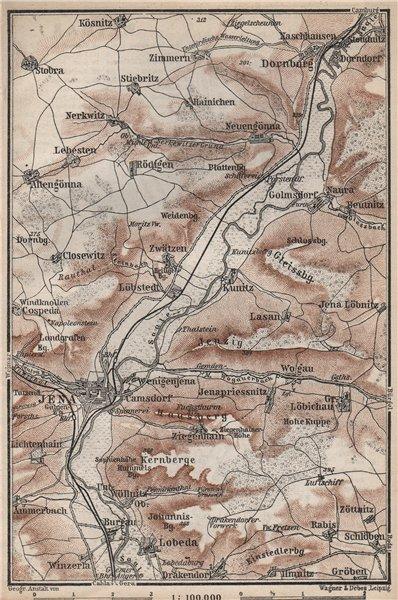 Associate Product JENA & environs/umgebung. Dornburg. Thuringia karte. BAEDEKER 1886 old map