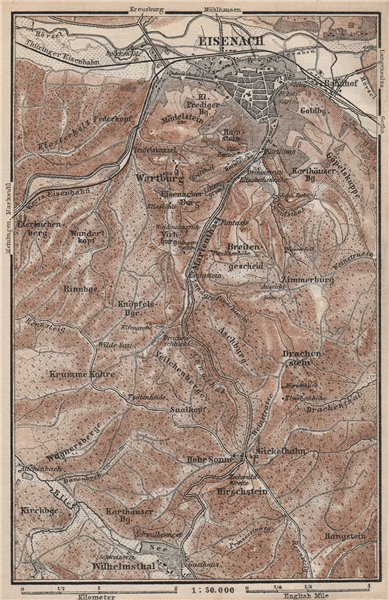 Associate Product EISENACH & environs/umgebung. Wartburg. Thuringia karte. BAEDEKER 1886 old map