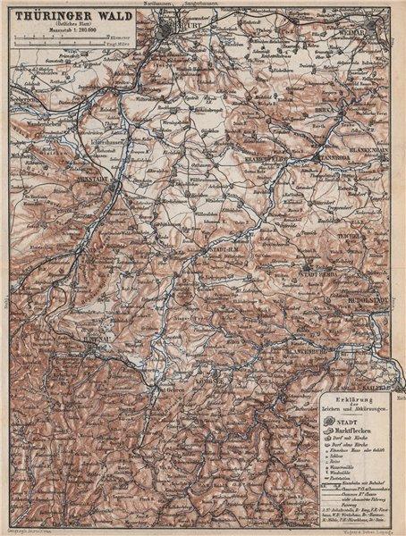 Associate Product THÜRINGER WALD Öst. Thuringian Forest East. Erfurt Weimar Hamenau 1886 old map