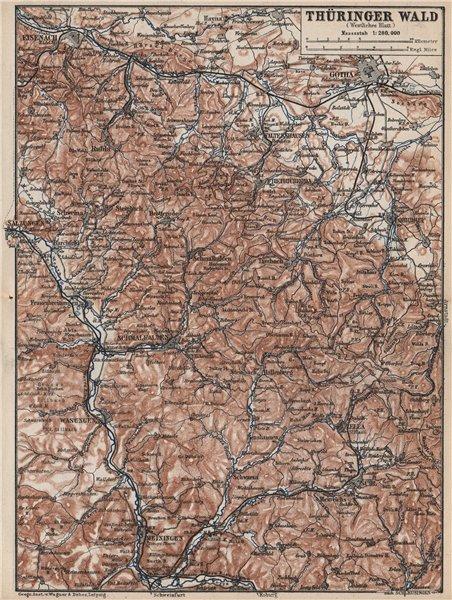 Associate Product THÜRINGER WALD West. Thuringian Forest. Gotha Meiningen Eisenach Zella 1886 map