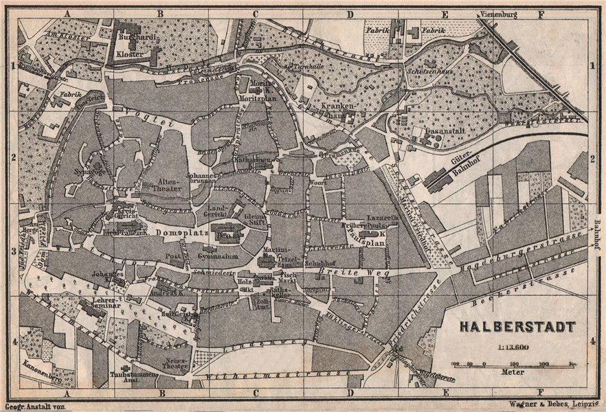 Associate Product HALBERSTADT antique town city stadtplan. Saxony-Anhalt karte. BAEDEKER 1886 map