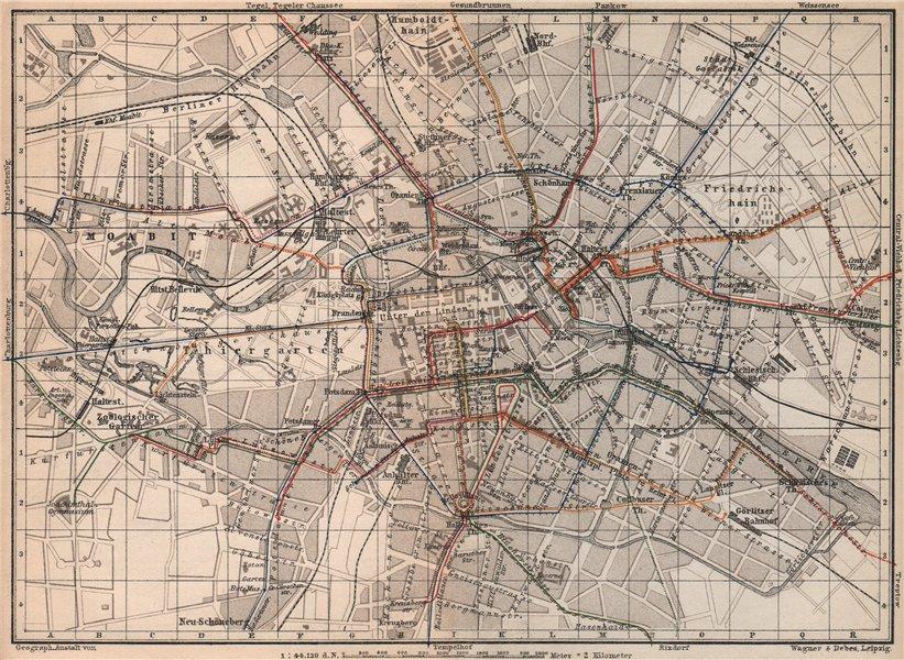 Associate Product BERLIN STRAßENBAHNNETZ. Tramway network city centre/innere stadt plan 1886 map