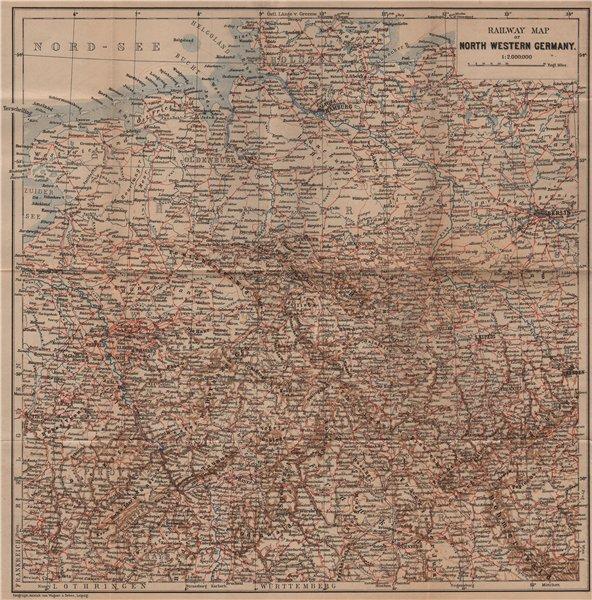Associate Product NORTH WEST GERMANY Railways. Nord Deutschland eisenbahnen karte 1900 old map