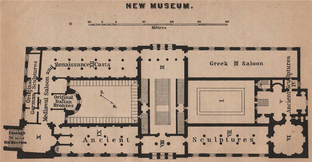 Associate Product NEW MUSEUM. NEUES MUSEUM floor plan. Berlin karte. BAEDEKER. SMALL 1900 map