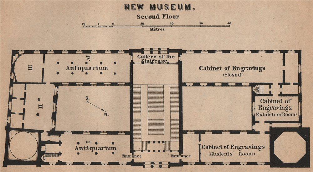 Associate Product NEW MUSEUM NEUES MUSEUM Second floor plan. Berlin karte. BAEDEKER.SMALL 1900 map