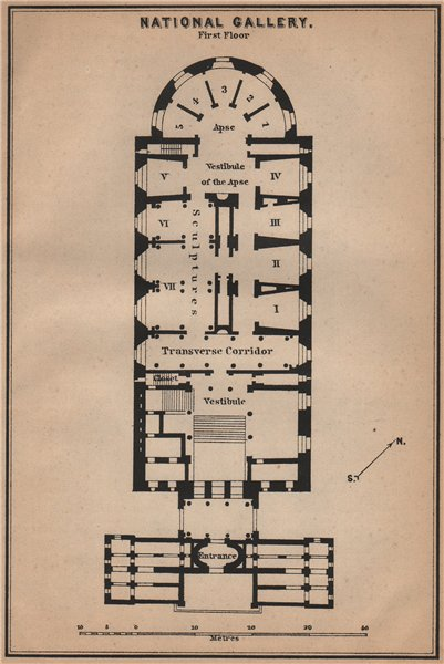 Associate Product ALTE NATIONALGALERIE, Berlin. Old National gallery. First floor plan 1900 map