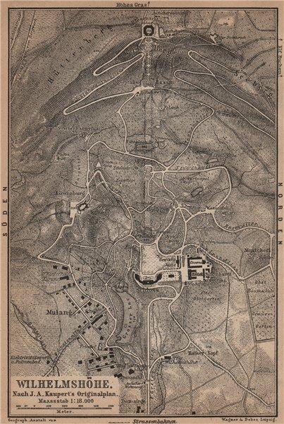 Associate Product BERGPARK WILHELMSHÖHE. Kassel, Deutschland. Kaupert karte. BAEDEKER 1900 map