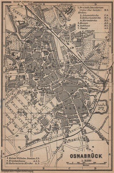 Associate Product OSNABRÜCK antique town city stadtplan. Lower Saxony karte. BAEDEKER 1900 map