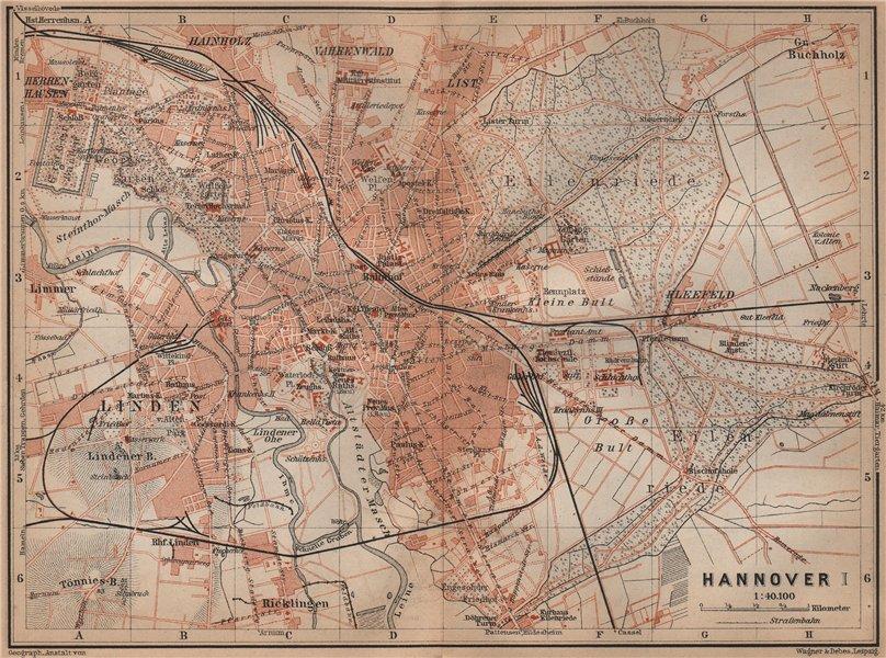 Associate Product HANNOVER antique town city stadtplan I. Hanover. Lower Saxony karte 1900 map