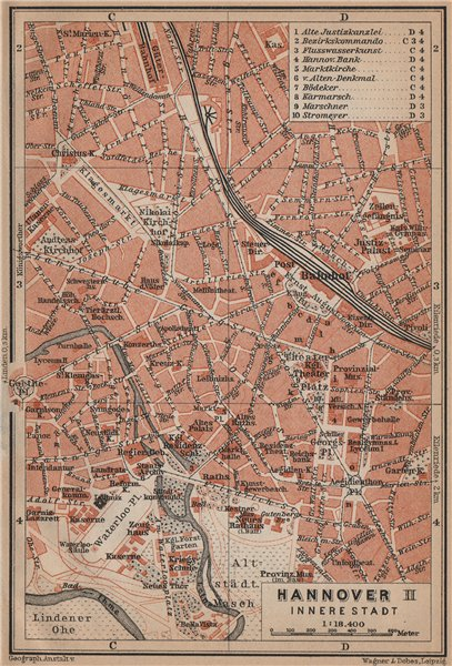 Associate Product HANNOVER INNERE STADT town city plan II. Hanover. Lower Saxony karte 1900 map