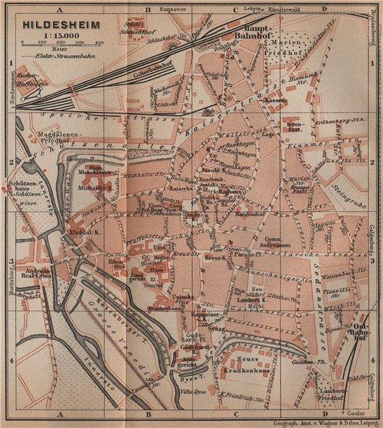Associate Product HILDESHEIM antique town city stadtplan. Lower Saxony karte. BAEDEKER 1900 map
