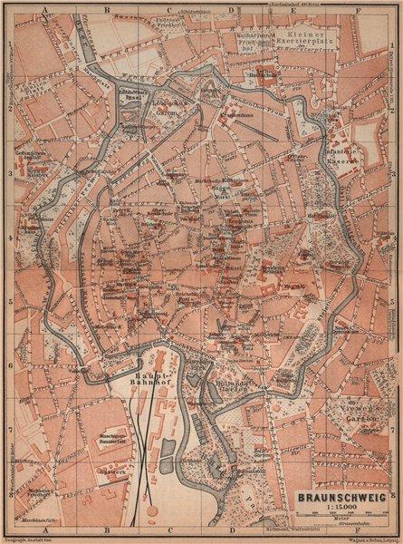 Associate Product BRAUNSCHWEIG town city stadtplan. Brunswick. Lower Saxony karte 1900 old map