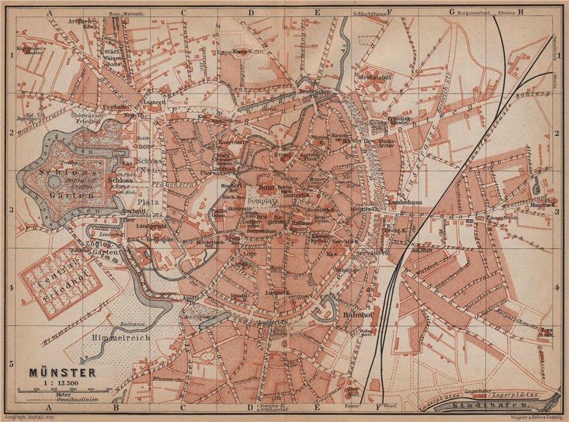 Associate Product MÜNSTER antique town city stadtplan. Northrhine-Westfalia karte 1900 old map
