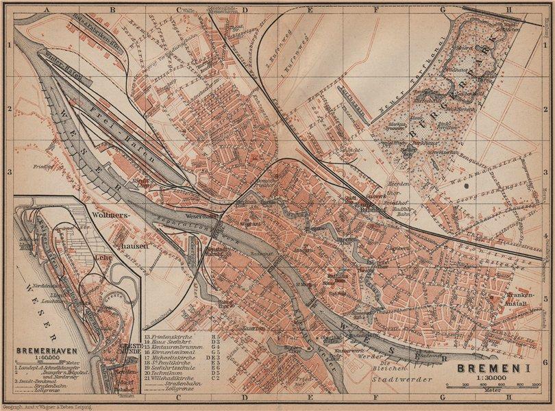 Associate Product BREMEN antique town city stadtplan I. Bremerhaven karte. BAEDEKER 1900 old map
