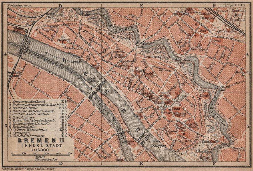 Associate Product BREMEN antique town cityplan II. Innere Stadt karte. BAEDEKER 1900 old map