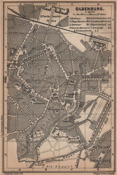 Associate Product OLDENBURG antique town city stadtplan. Lower Saxony karte. BAEDEKER 1900 map