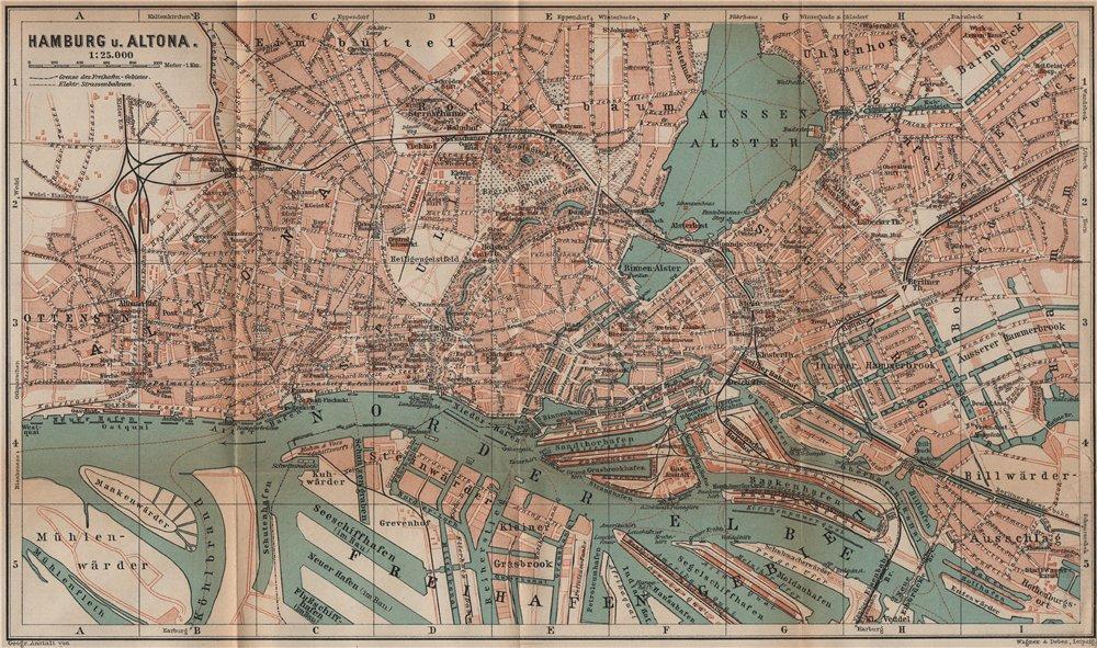 Associate Product HAMBURG & ALTONA town city stadtplan St Pauli St Georg Freihafengebiet 1900 map