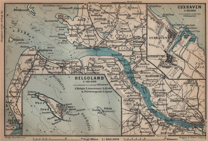Associate Product ELBMÜNDUNG. Elbe estuary. Helgoland Heligoland Cuxhaven plans. Altona 1900 map