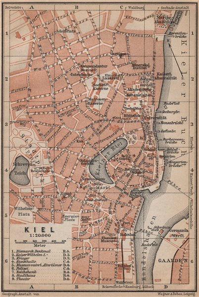 Associate Product KIEL antique town city stadtplan. Schleswig-Holstein karte. BAEDEKER 1900 map