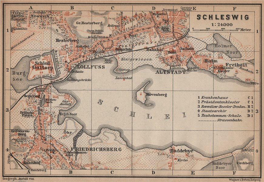 Associate Product SCHLESWIG town city stadtplan Lollfuss Friedrichsberg Slesvig Gottorp 1900 map