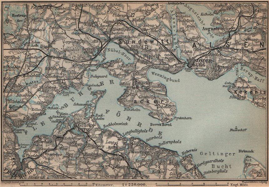 Associate Product FLENSBURGER FÖRDE FLENSBORG FJORD/Firth. Sonderborg Schleswig-Holstein 1900 map