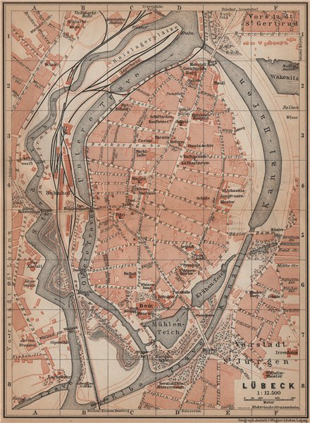 Associate Product LÜBECK antique town city stadtplan. Schleswig-Holstein karte. BAEDEKER 1900 map