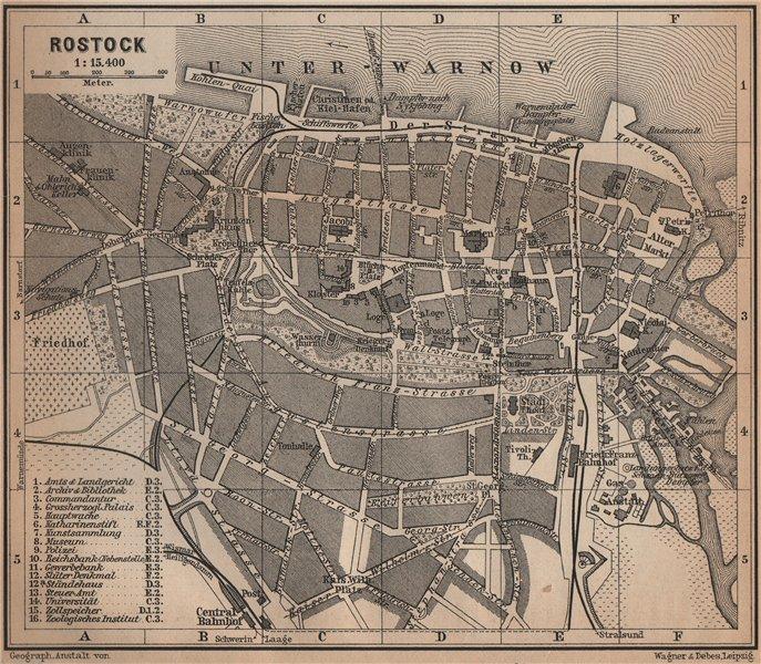 Associate Product ROSTOCK antique town city stadtplan. Mecklenburg-Vorpommern karte 1900 old map