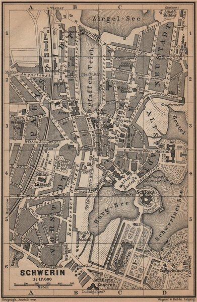 Associate Product SCHWERIN antique town city stadtplan. Mecklenburg-Vorpommern karte 1900 map