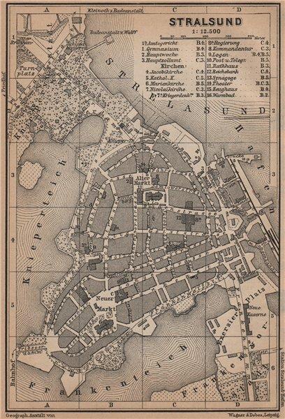Associate Product STRALSUND antique town city stadtplan. Mecklenburg-Vorpommern karte 1900 map