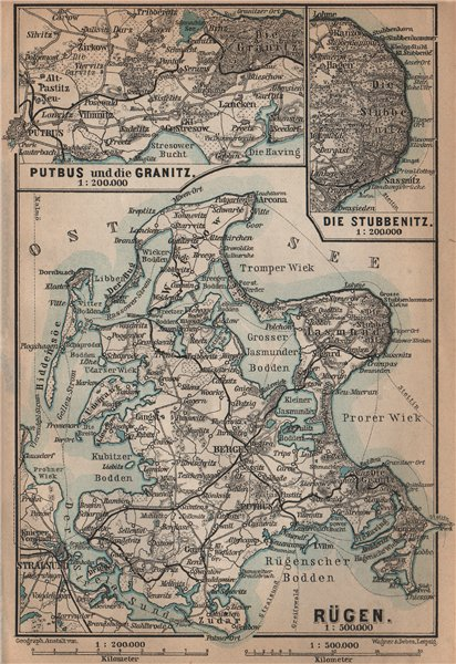 Associate Product RÜGEN. Stralsund Bergen Sassnitz Sellin. Rugen Deutschland Germany 1900 map