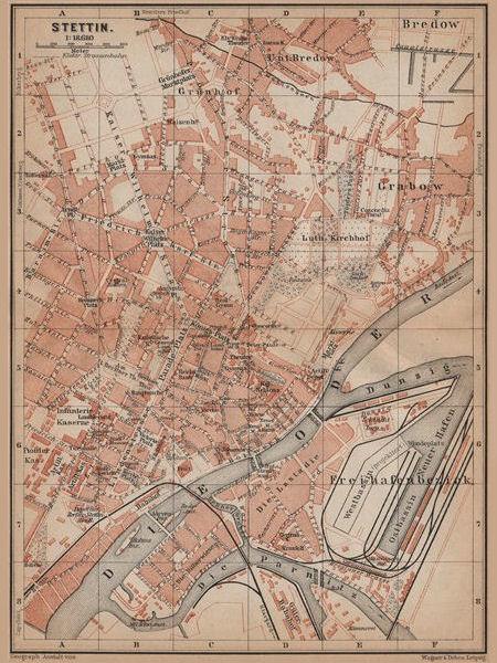 STETTIN SZCZECIN antique town city plan miasta. Poland mapa. BAEDEKER 1900
