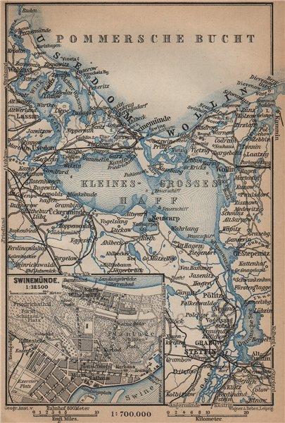 Associate Product SWINOUJSCIE city plan & ZALEW SZCZECINSKI environs. Stettin Swinemünde 1900 map