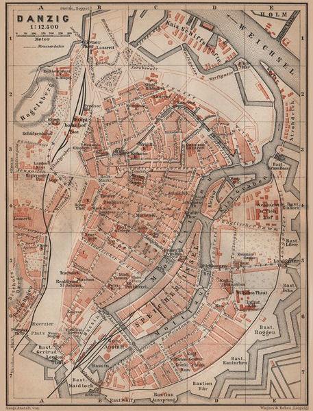 Associate Product GDANSK antique town city plan miasta. Gdańsk Danzig. Poland mapa 1900 old