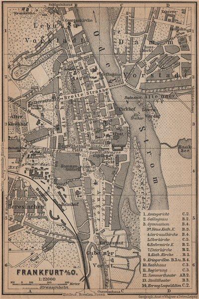 Associate Product FRANKFURT AN DER ODER antique town city stadtplan. Hessen karte 1900 old map