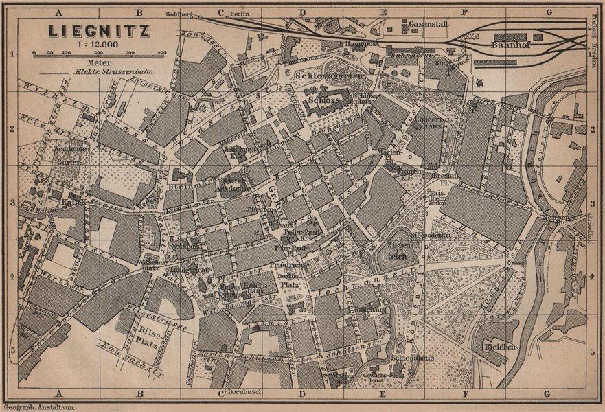 Associate Product LIEGNITZ LEGNICA antique town city plan miasta. Silesia, Poland mapa 1900