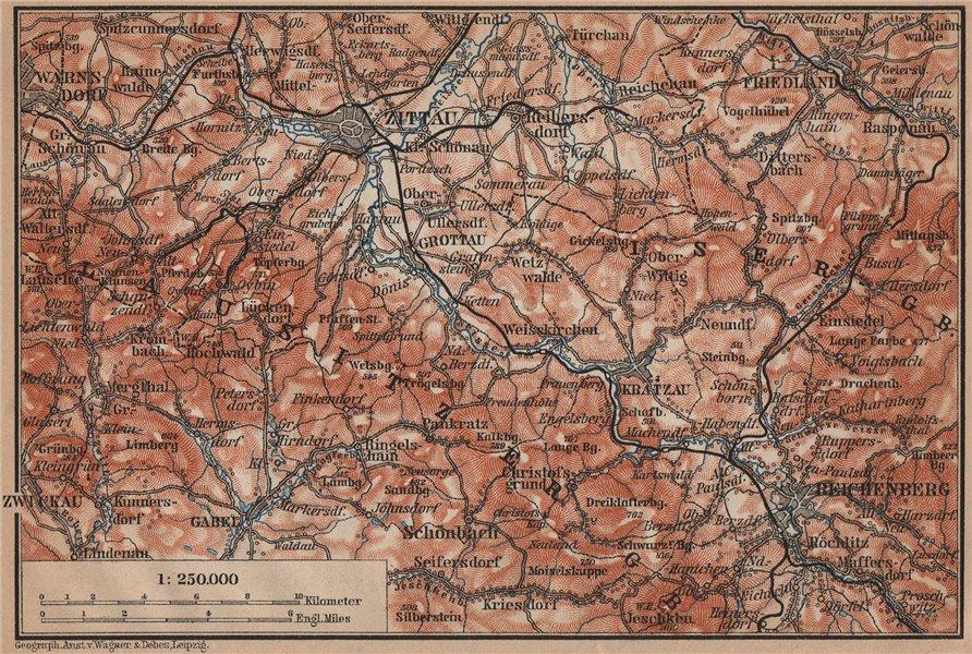 Associate Product LUSATIAN MOUNTAINS. Zittau Liberec Frydlant Bogatynia Luzicke hory 1900 map