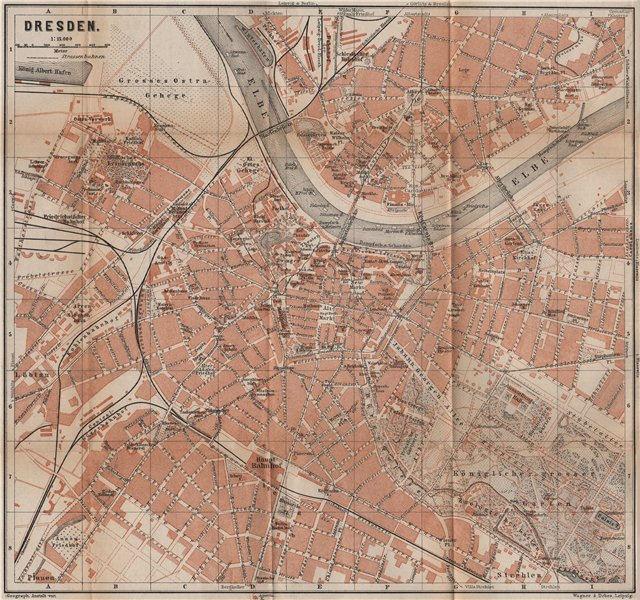 Associate Product DRESDEN antique town city stadtplan II. Saxony karte. BAEDEKER 1900 old map