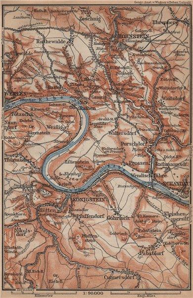 Associate Product KÖNIGSTEIN & HOHNSTEIN umgebung. Sächsische schweiz Saxon Switzerland 1900 map