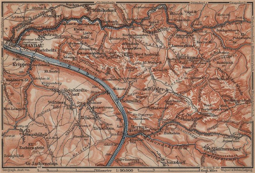 Associate Product BAD SCHANDAU environs/umgebung. Sächsische schweiz. Deutschland karte 1900 map