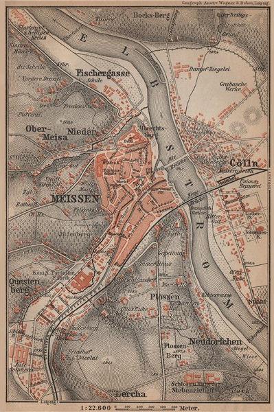 Associate Product MEISSEN Meißen town city stadtplan & environs/umgebung. Cölln. Saxony 1900 map