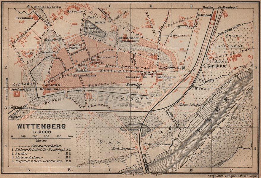 Associate Product WITTENBERG antique town city stadtplan. Saxony-Anhalt karte. BAEDEKER 1900 map