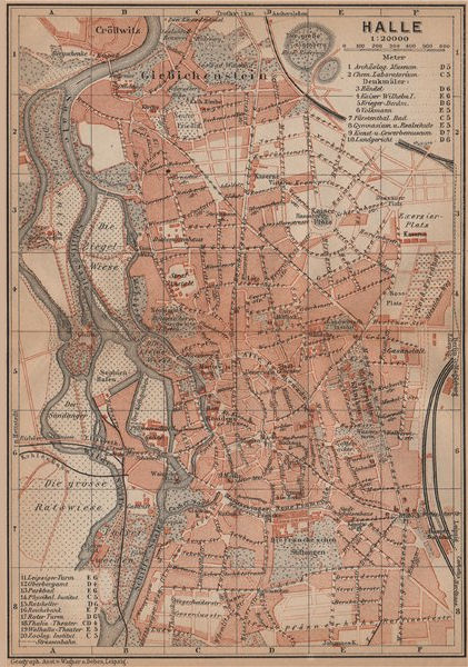Associate Product HALLE antique town city stadtplan. Saxony-Anhalt karte. BAEDEKER 1900 old map