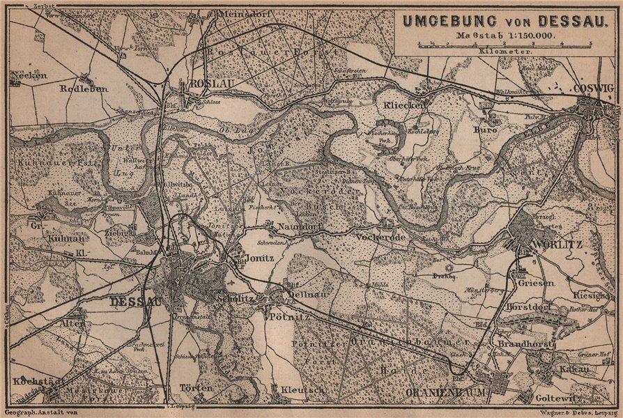 Associate Product DESSAU environs/umgebung. Roslau Roßlau Worlitz Coswig Oranienbaum 1900 map