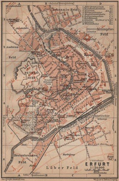 Associate Product ERFURT antique town city stadtplan. Thuringia karte. BAEDEKER 1900 old map